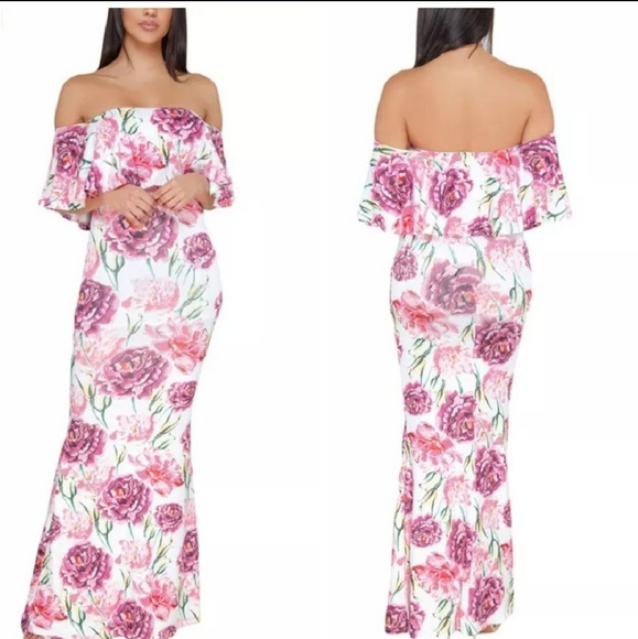 Dresses | Plus Size Off The Shoulder Floral Maxi Dress | Poshmark